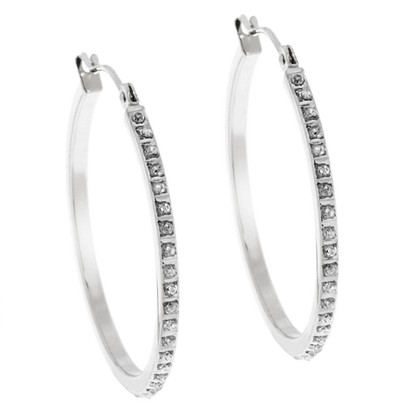 14Kt. White Gold Diamond Accent Round Hoop Earrings - White