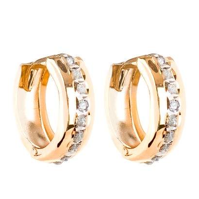 14Kt. Yellow Gold Diamond Accent Bold Hinged Hoop Earrings - Yellow