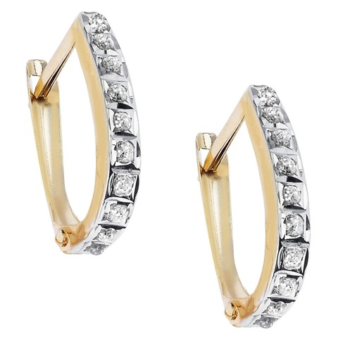 14Kt. Yellow Gold Diamond Accent Oval Hinged Hoop Earrings - Yellow