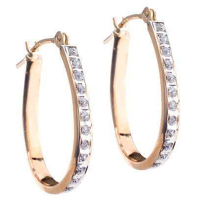 14Kt. Yellow Gold Diamond Accent Pear Shape Hoop Earrings - Yellow