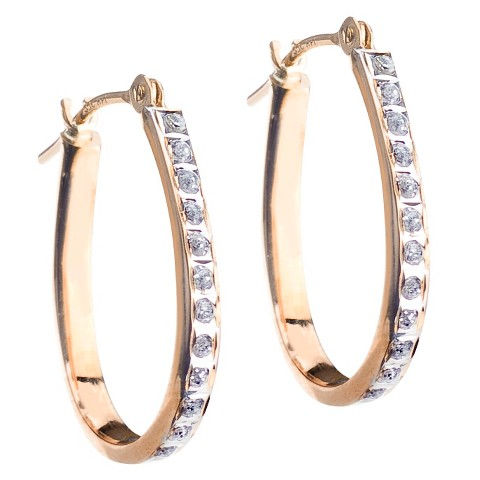 14Kt Yellow Gold Diamond Accent Pear Shape Hoop Earrings - Yellow