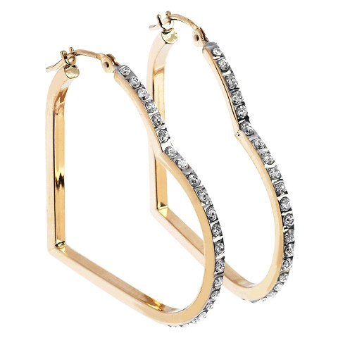 14Kt. Yellow Gold Diamond Accent Floating Heart Hoop Earrings - Yellow