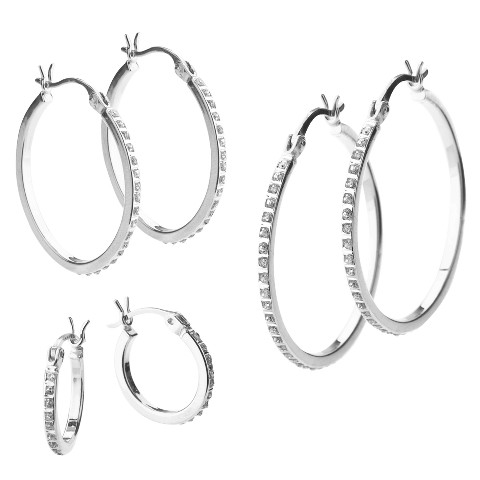 Platinum Over Sterling Silver Diamond Accent Earring Set - 3 Pairs - White