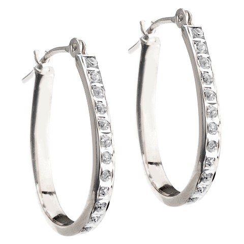 14Kt. White Gold Diamond Accent Pear Shape Hoop Earrings - White