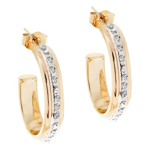 14Kt. Yellow Gold Diamond Accent 3/4 Post Earrings - Yellow