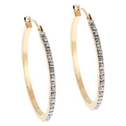 14Kt. Yellow Gold Diamond Accent Round Hoop Earrings - Yellow