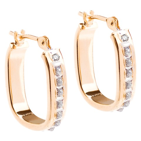 14Kt. Yellow Gold Diamond Accent U Hoop Earrings - Yellow
