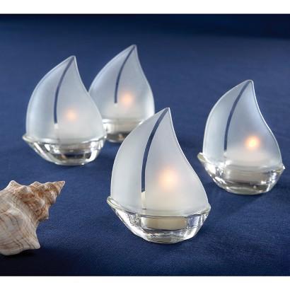 Glass Sailboat Tealight (Set of 12)