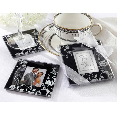 Black and White Glass Photo Coasters (Set of 12)