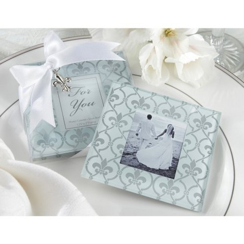 Kate Aspen Fleur-de-Lis Glass Photo Coasters  (Set of 12)
