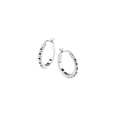 Platinum Over Sterling Silver Diamond & Sapphire Accent Bold Round Hoop Earrings - White
