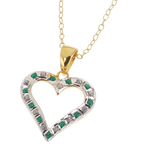 18Kt. Gold Over Sterling Silver Diamond & Emerald Accent Heart Pendant - Yellow (18)