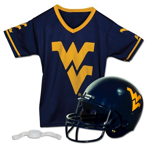 Franklin Sports NCAA West Virginia Mountaineers Helmet/Jersey Set- OSFM Ages 5-9