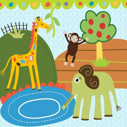 Oopsy Daisy too Jungle Elephant & Friends - 10x10""
