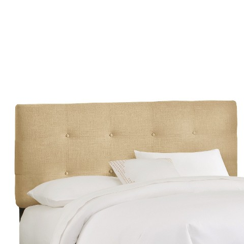 Dolce Button Tufted Linen Headboard - Oatmeal
