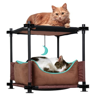 Kitty City Cat Cozy Bed - Brown