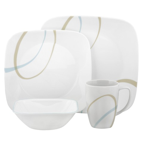 Corelle 16 Piece Square Dinnerware Set - Sand and Sky