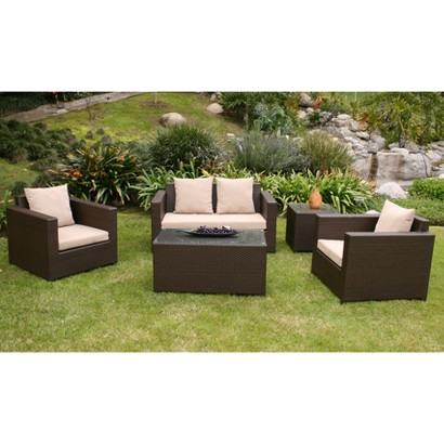 Khaki Metro II 5-Piece Patio Lounge Furniture Set
