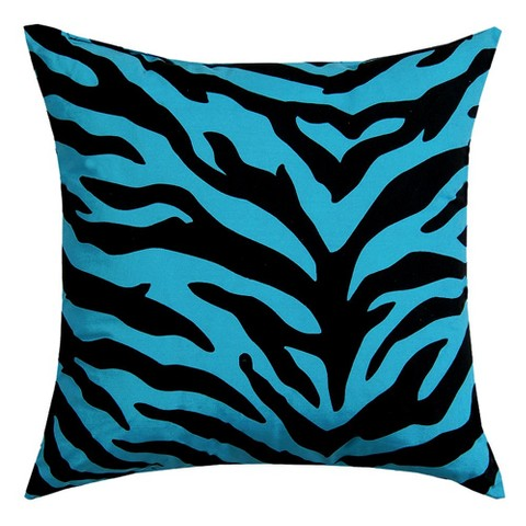 "Zebra Square Pillow - Blue/ Black (18 x 18"")"