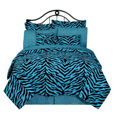 Zebra Complete Bed Set - Blue/ Black