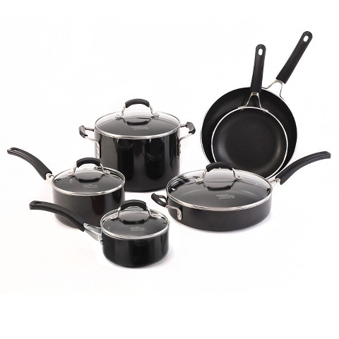 Kitchen Essentials Stunning With Calphalon Kitchen Essentials Nonstick 10 Piece Cookware Set Black Picture