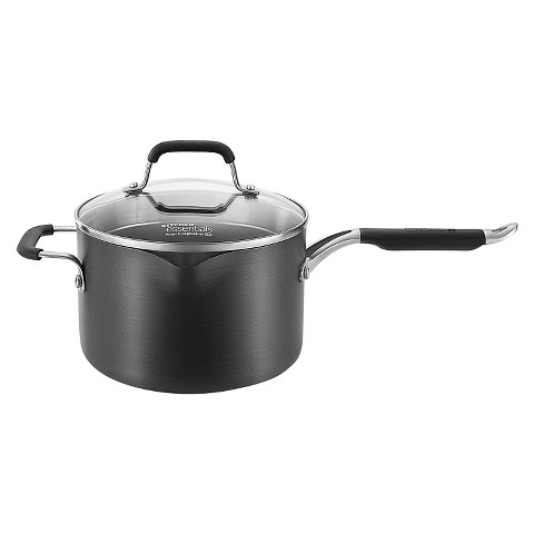 Calphalon Kitchen Essentials Sauce Pan with Pour and Strain Cover - 4 Quart
