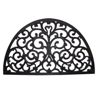 Smith & Hawken® Decorative Half Moon Black Rubber Door Mat