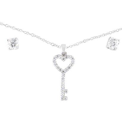 Sterling Silver Cubic Zirconia Key Heart Necklace Earring Set - White ( 18 )