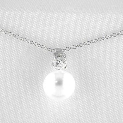Freshwater Pearl Sterling Silver Pendant Necklace - White