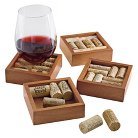 4 Pc Wine Cork Coaster Kit - Walnut