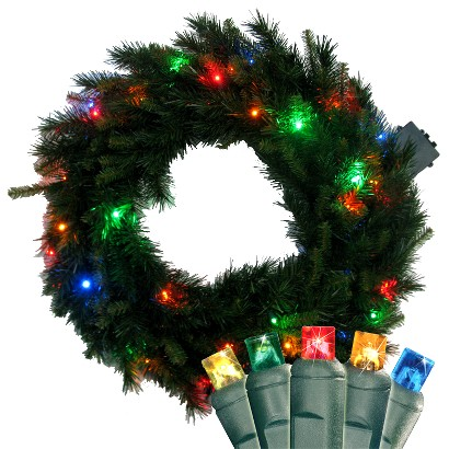 "Pre-Lit LED Pine Wreath - Multi Lights (24"")"