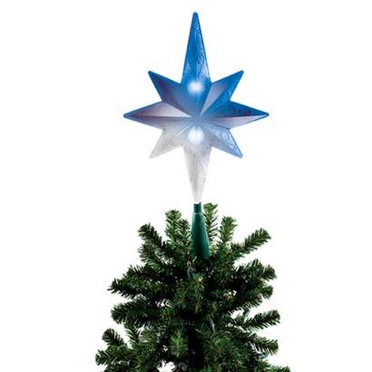 LED Frosty Bethlehem Tree Topper - Blue/White