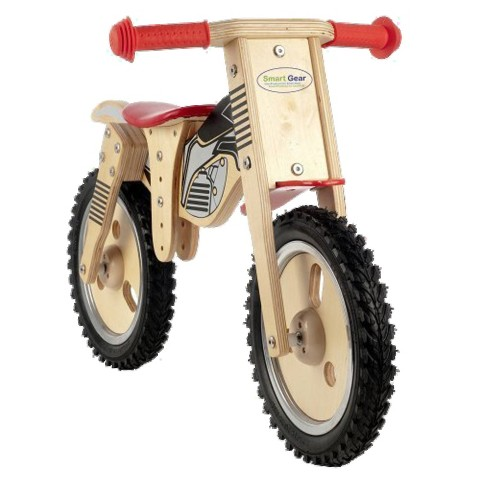 Smart Gear Kid's Wooden Balance Bike - Black/Red (Chopper)