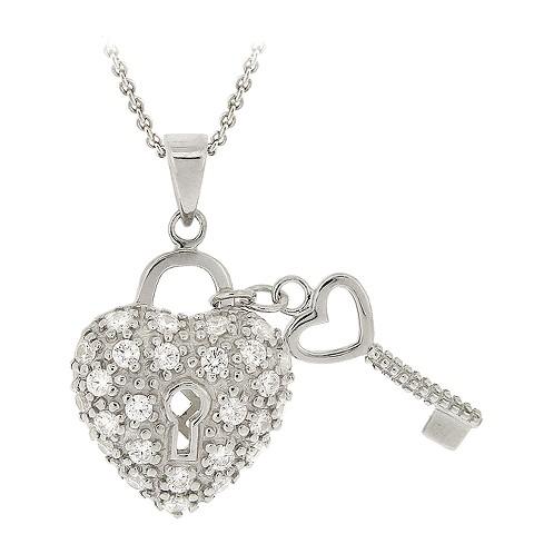 Sterling Silver Heart Key Pendant - Silver