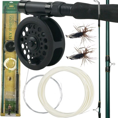 Trademark Global Crystal River Fly Fishing Combo Kit - Black