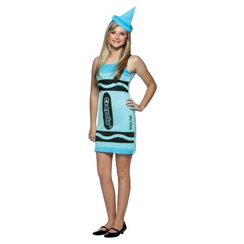 Teen Girl's Sky Blue Crayola Crayon Costume - Size 13-16