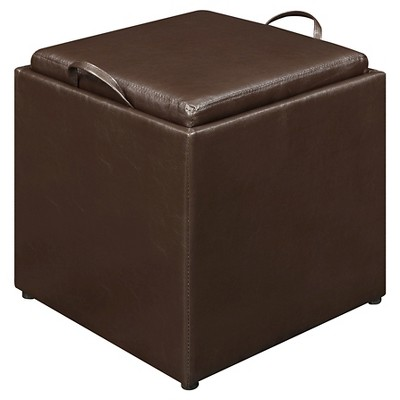 3 Piece Sheridan Leather Storage Ottoman with Tray Espresso - Convenience Concepts