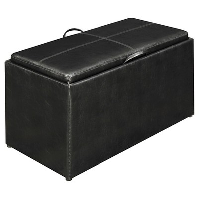 4 Piece Sheridan Double Storage Ottoman with Tray in Black - Convenience Concepts