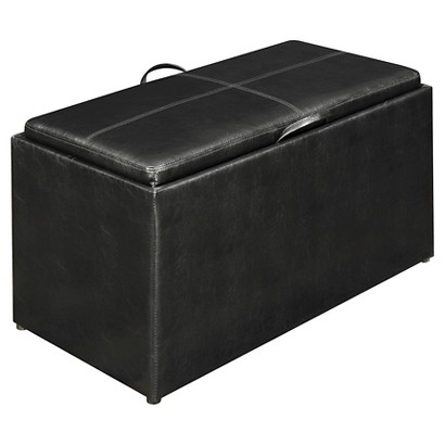 Convenience Concepts Sheridan Leather 4 Piece Double Storage Ottoman with Tray - Black