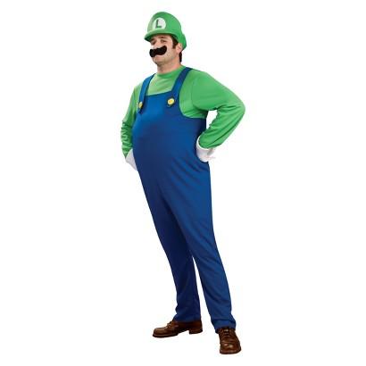 Men's Super Mario Bros. Deluxe Luigi Costume - One Size Fits Most