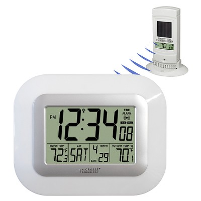 La Crosse Technology Atomic Digital Clock with Solar Sensor - White WS-811561-W
