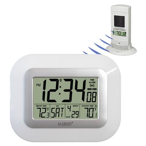 La Crosse Technology Atomic Digital Clock with Solar Sensor - WhiteWS-811561-W