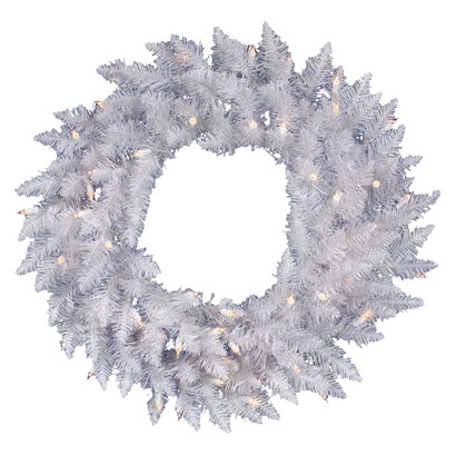 "Pre-Lit Spruce Wreath - Clear Lights (36"")"