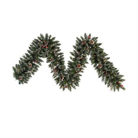 Pre-Lit Snow Tip Pine Garland - Clear Lights (9')