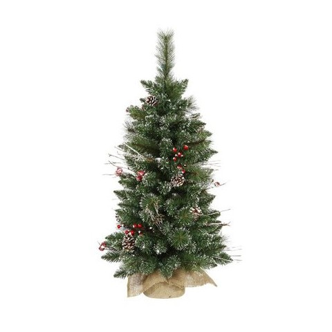 3' Unlit Snow Tip Pine/Berry Tree