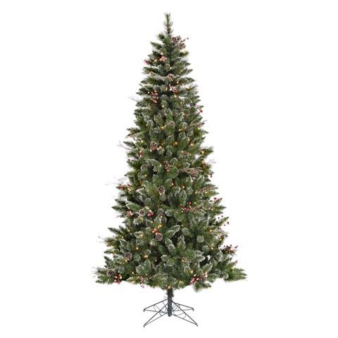 7' Pre-Lit SnowTip Berry/Vine Artificial Christmas Tree - Clear Lights
