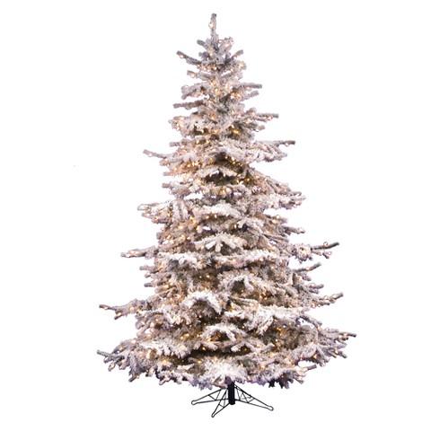 "6.5' x 53"" Sierra Fir Flocked Pre-lit Christmas Tree - Clear Lights"