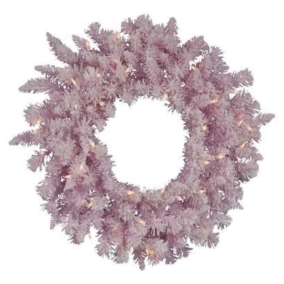 Pre-Lit Flocked Wreath - Clear Lights (30'')