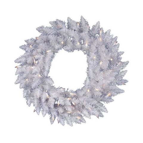 "Pre-Lit White Spruce Wreath - Clear Lights (24"")"