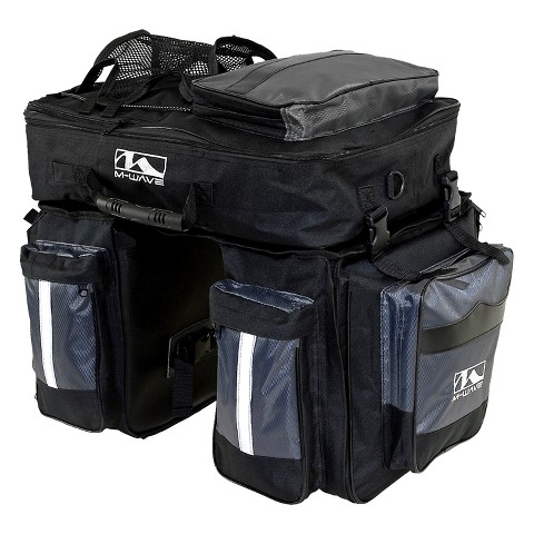 M-Wave Traveller Pannier - Black/ Silver (3pc)
